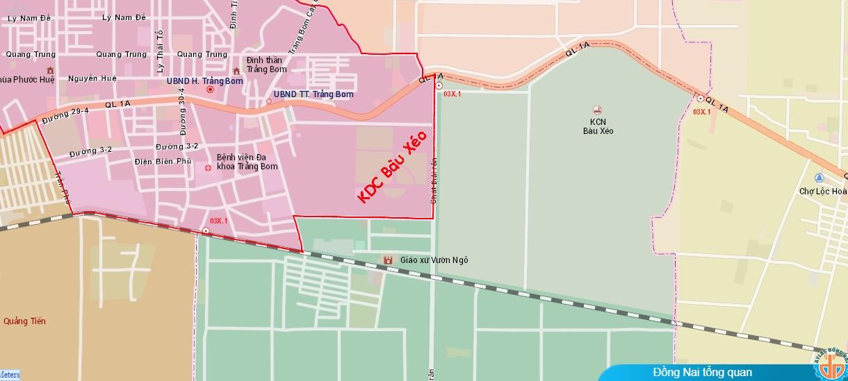 Vị trí dự án khu dân cư Bàu Xéo